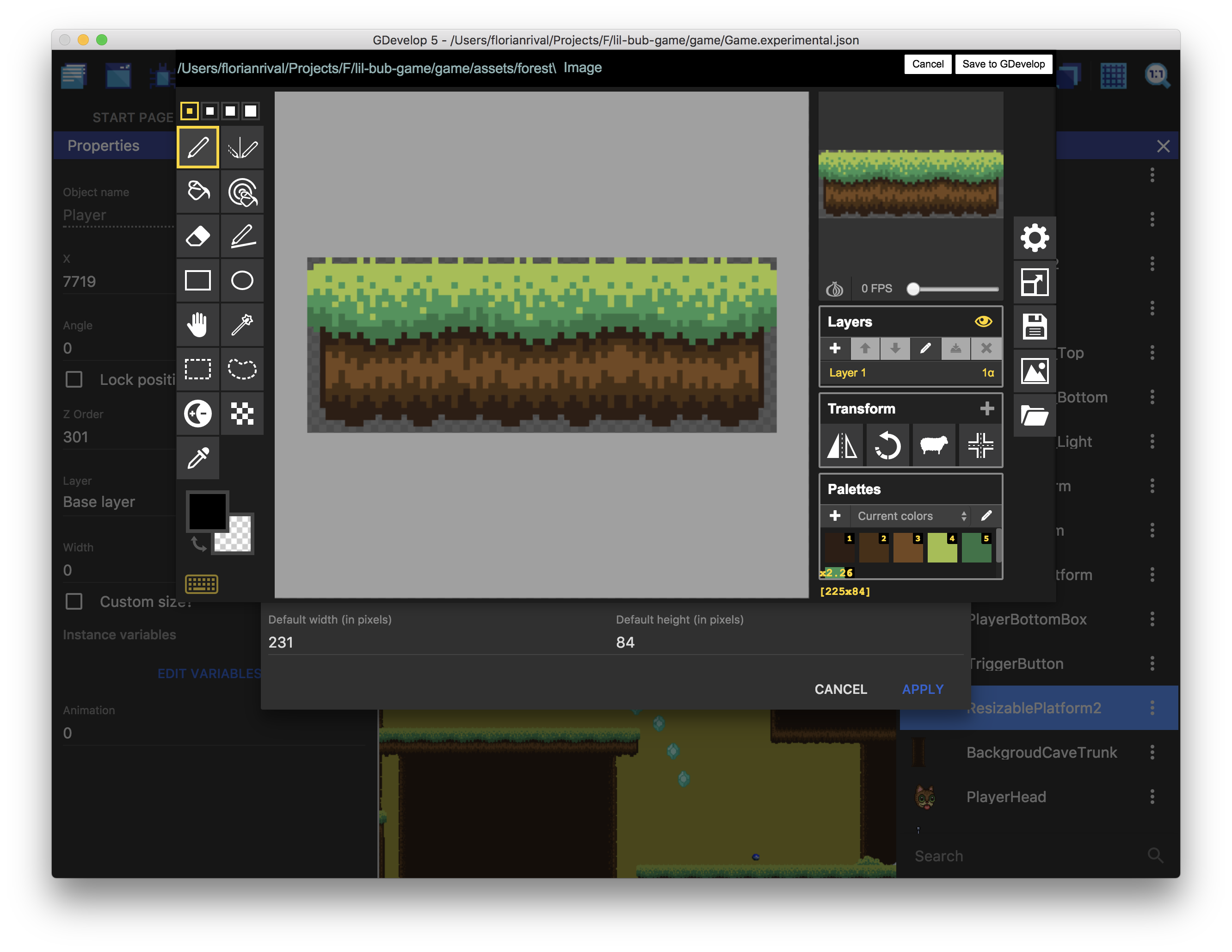 Editing a sprite with Piskel, embedded editor in GDevelop