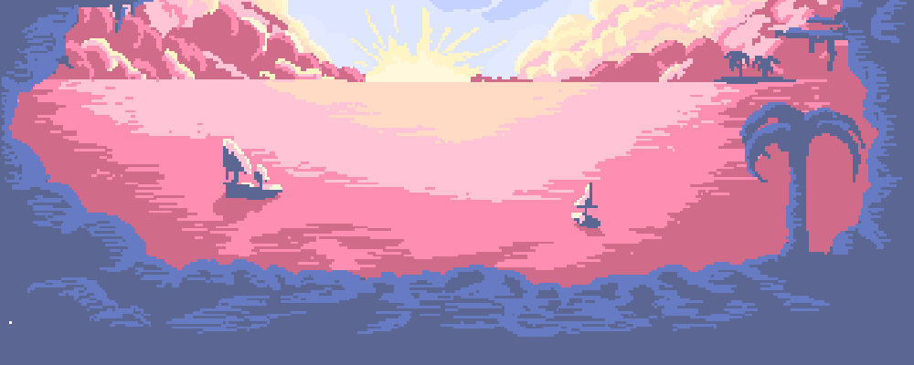pixelart Background: tropical island sunset