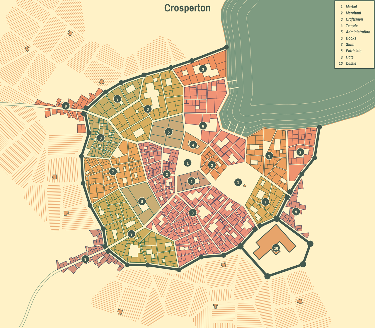 0 5 5: Farm fields, rotation tool and city names - Medieval Fantasy