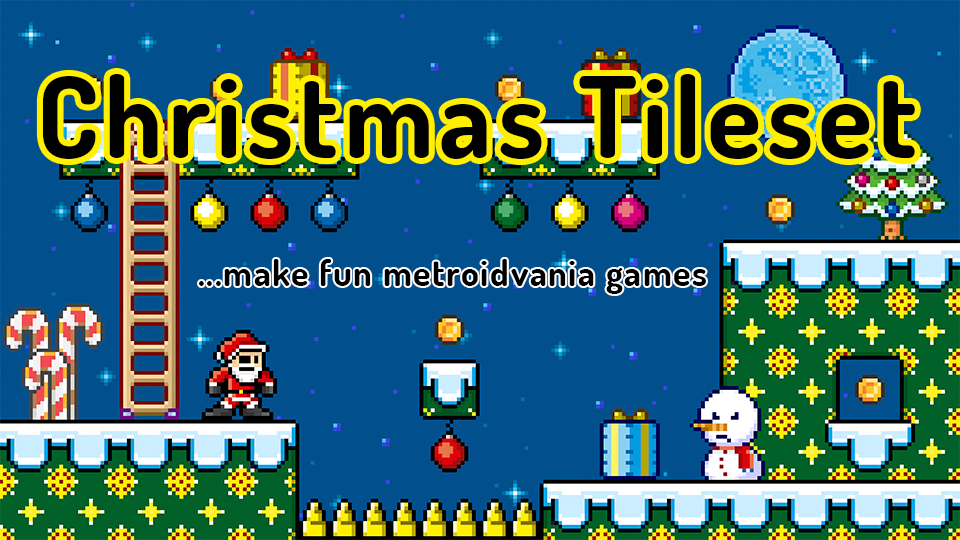 Christmas Tileset - Develop metroidvania games
