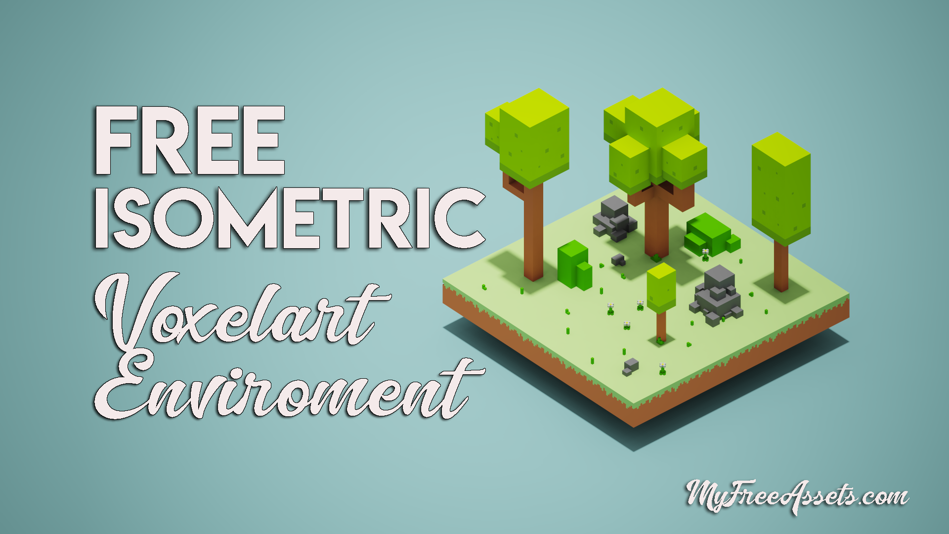 Free isometric enviroment : Vegetatión, trees and rocks.