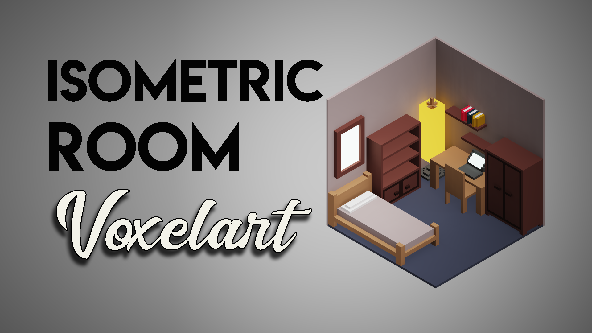 Free isometric voxel room : Estructure and furnitures