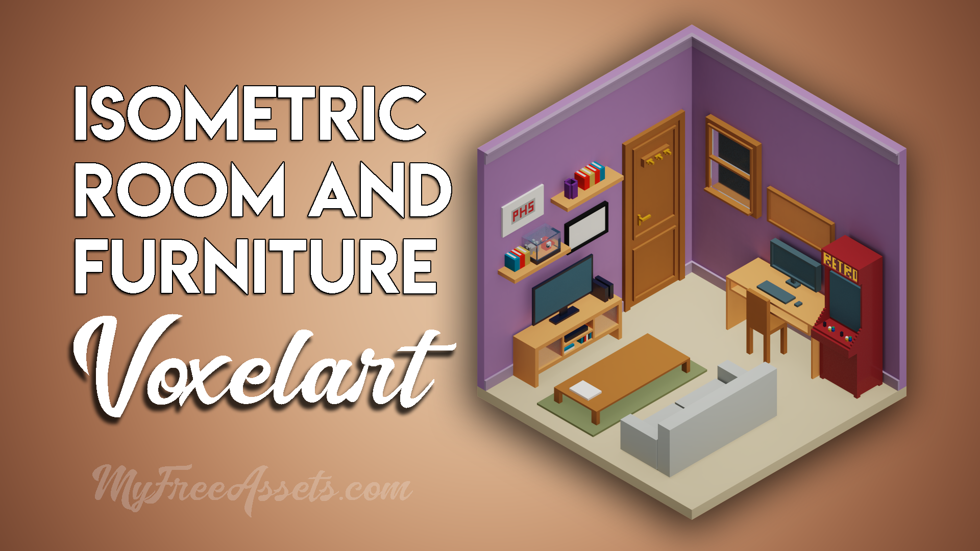 Isometric voxel room