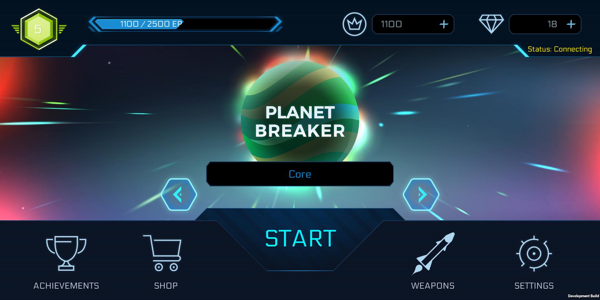 Planet Breakers mainscreen