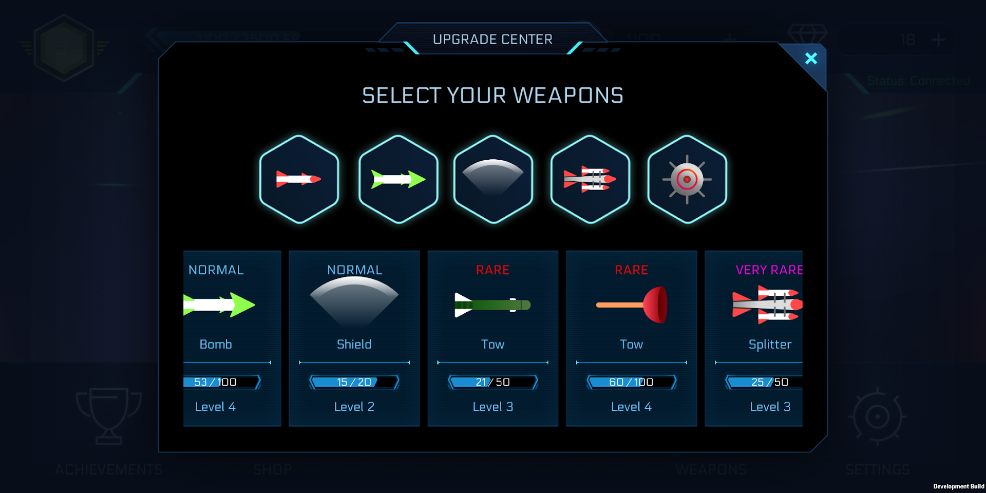 Choose your weapon setup and upgrade your weapons