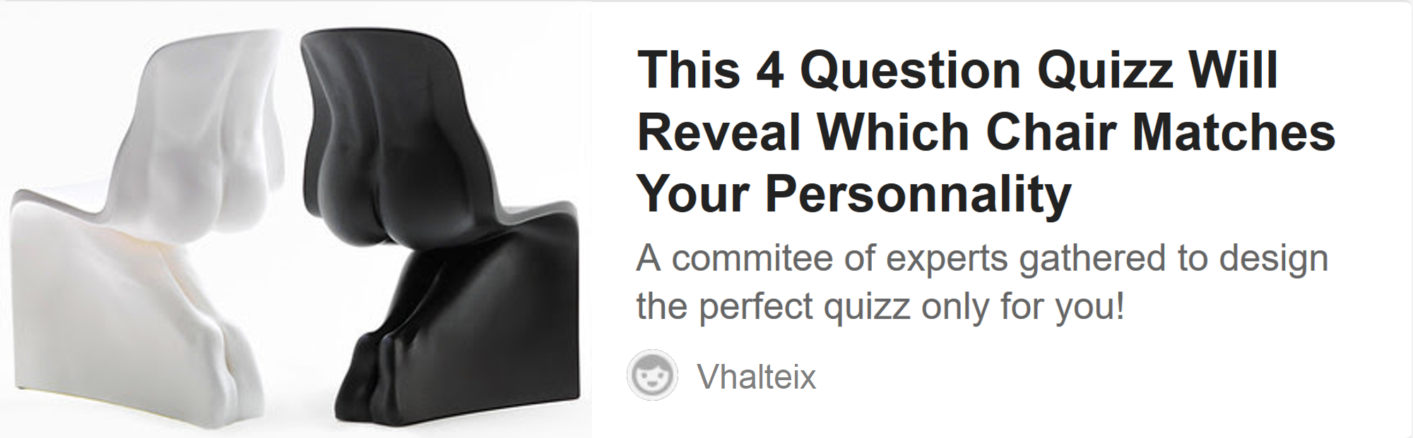This 4 Question Quizz Will Reveal Which Chair Matches Your Personnality