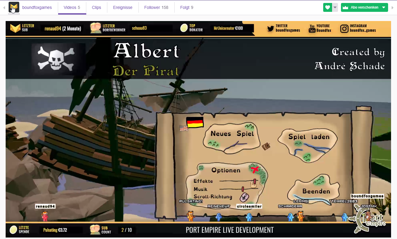 """Albert - The Pirate"" live @boundfox on Twitch"