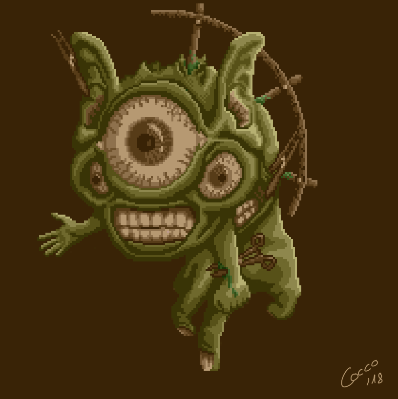 64x64 Pixel Art: Grotesque Surreal Creature 7 - (Looking For