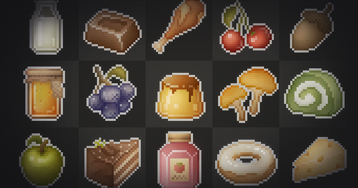 Pixel Art Icon Pack - Food