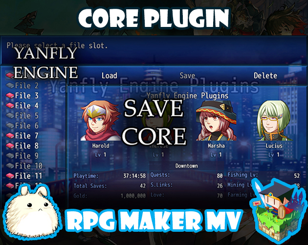Save Core plugin for RPG Maker MV by Yanfly Engine Plugins