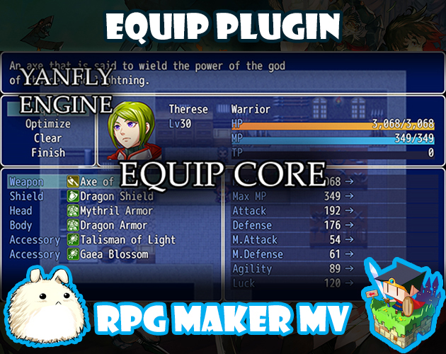 Equip Core plugin for RPG Maker MV by Yanfly Engine Plugins