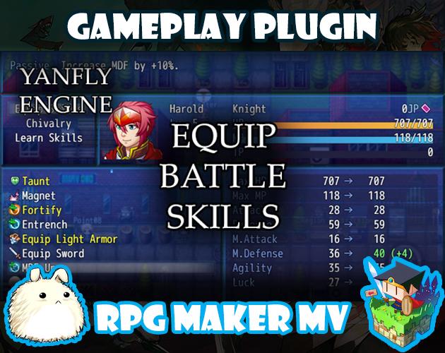Equip Battle Skills plugin for RPG Maker MV by Yanfly Engine Plugins
