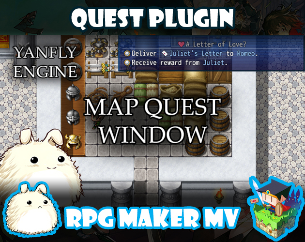 Map Quest Window plugin for RPG Maker MV by Yanfly Engine Plugins on
