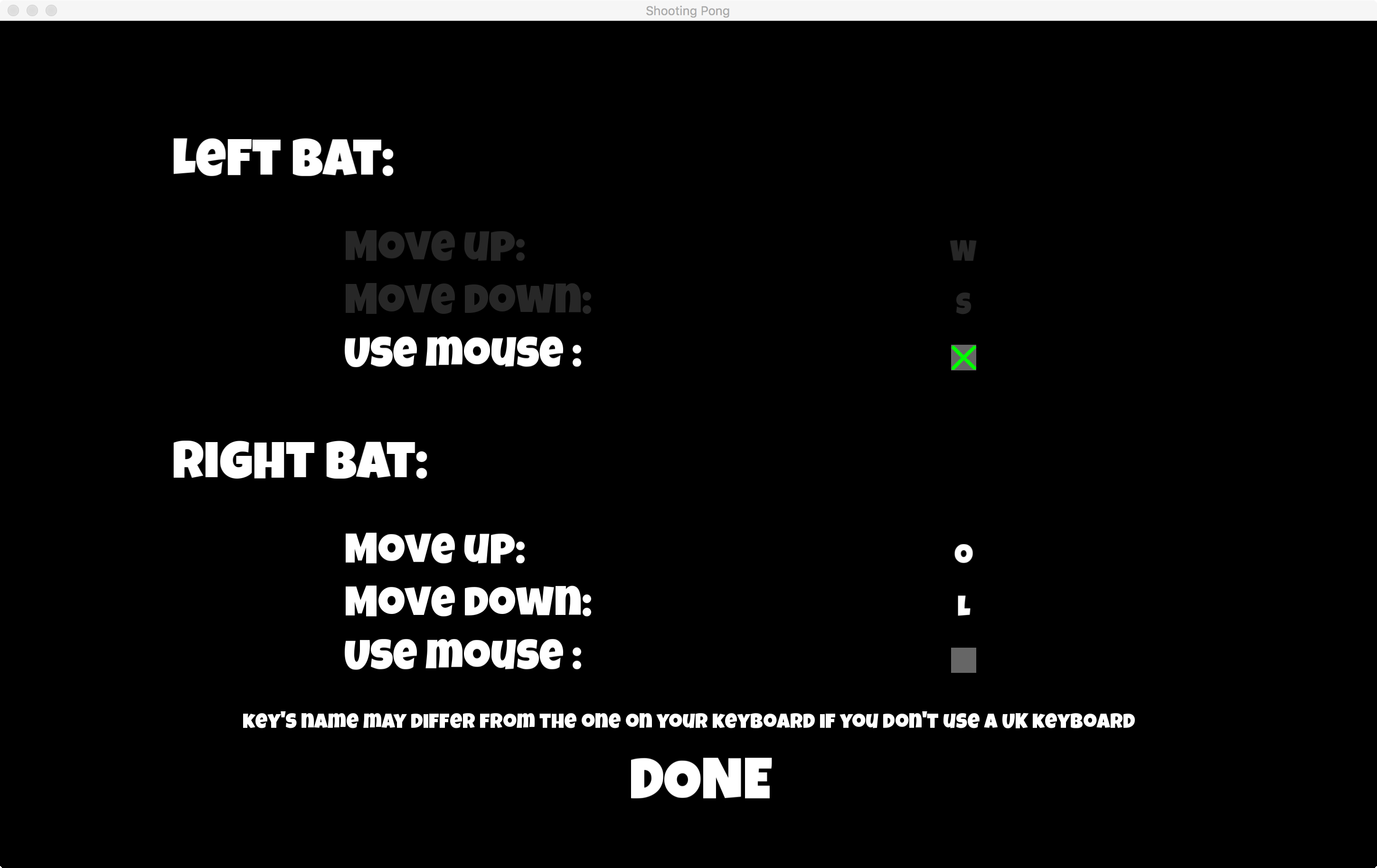 Shooting Pong Setting Screen
