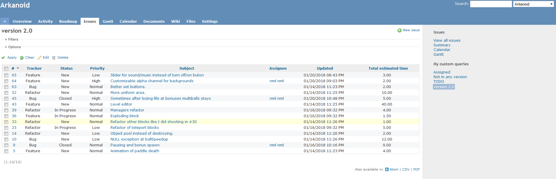 Local redmine screenshot