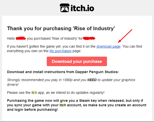 How to get a Steam key from your Itch io purchase - Rise of Industry