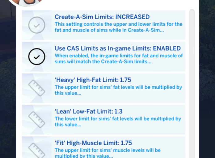 Advanced settings for Expanded Fitness Limits - Fitness Controls for