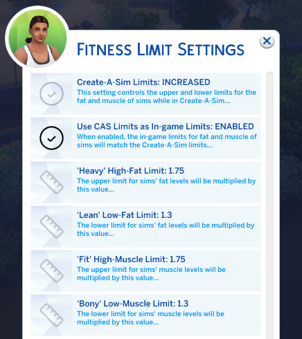 Advanced settings for Expanded Fitness Limits - Fitness