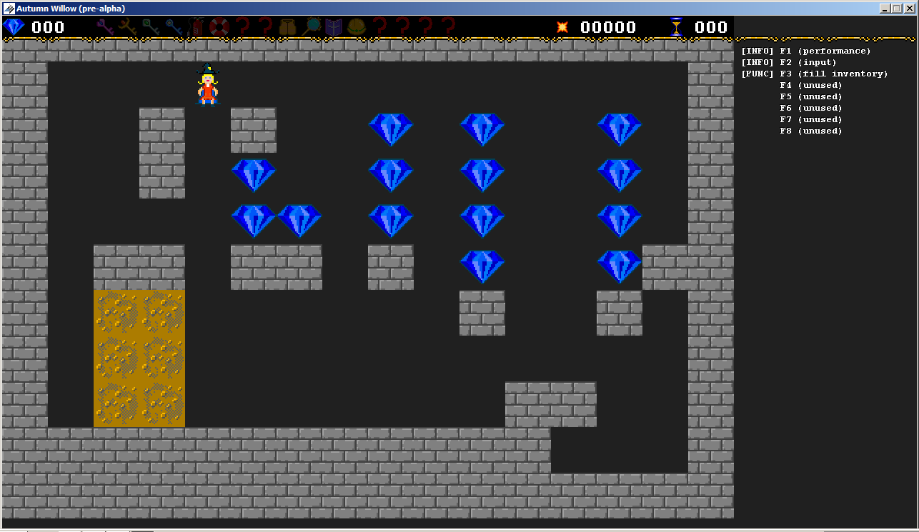 An earlier build of the game, with falling gems and removeable dirt tiles.