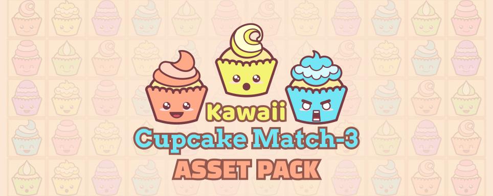 Kawaii Cupcake Match-3 Asset Pack