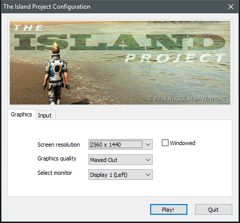 The Island Project Configuration Window