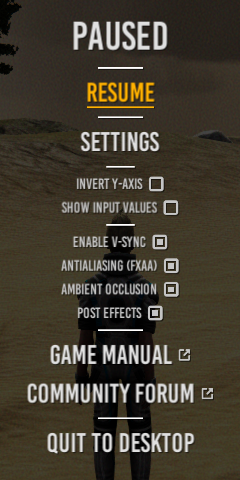 The Island Project Pause Menu