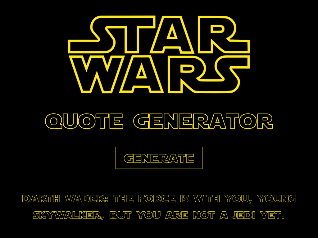Star Wars Quote   Star Wars Quote Generator Release Announcements Itch Io