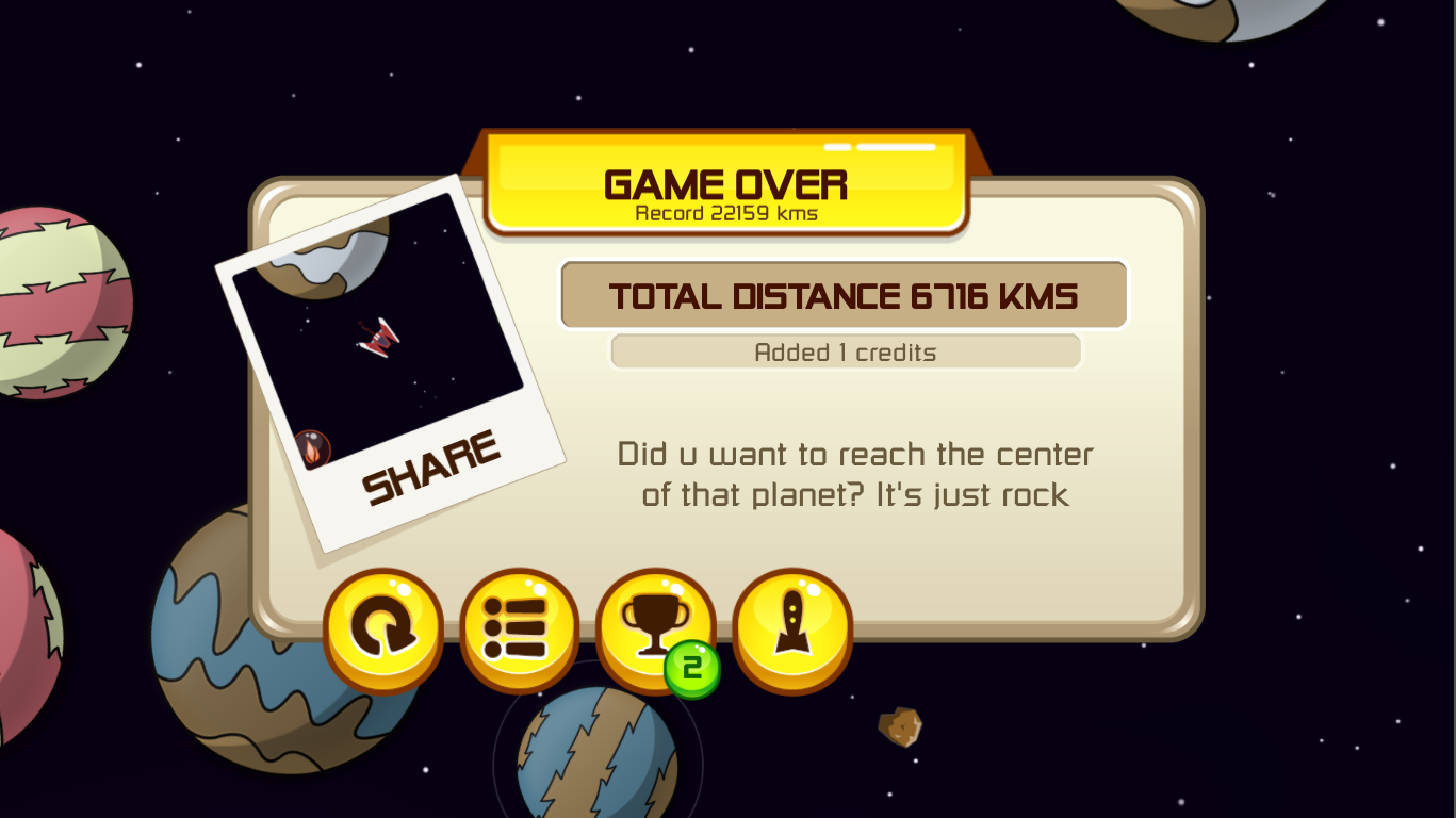 Screenshot of the game over menu of the final version
