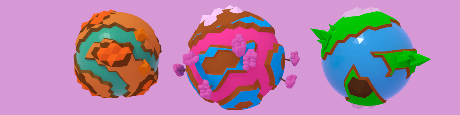 Stylized low poly planets