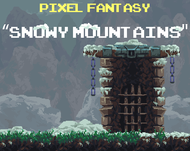 Pixel Fantasy Snowy Mountains