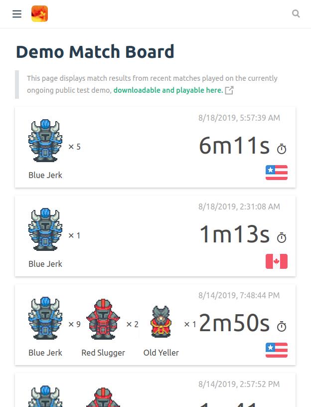Demo match board