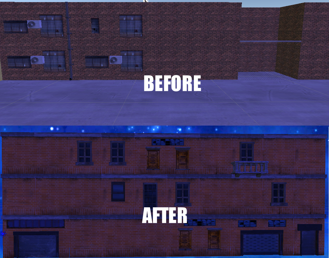 Before and After comparison of the graphics