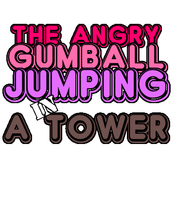 The angry gumball jumping in a tower