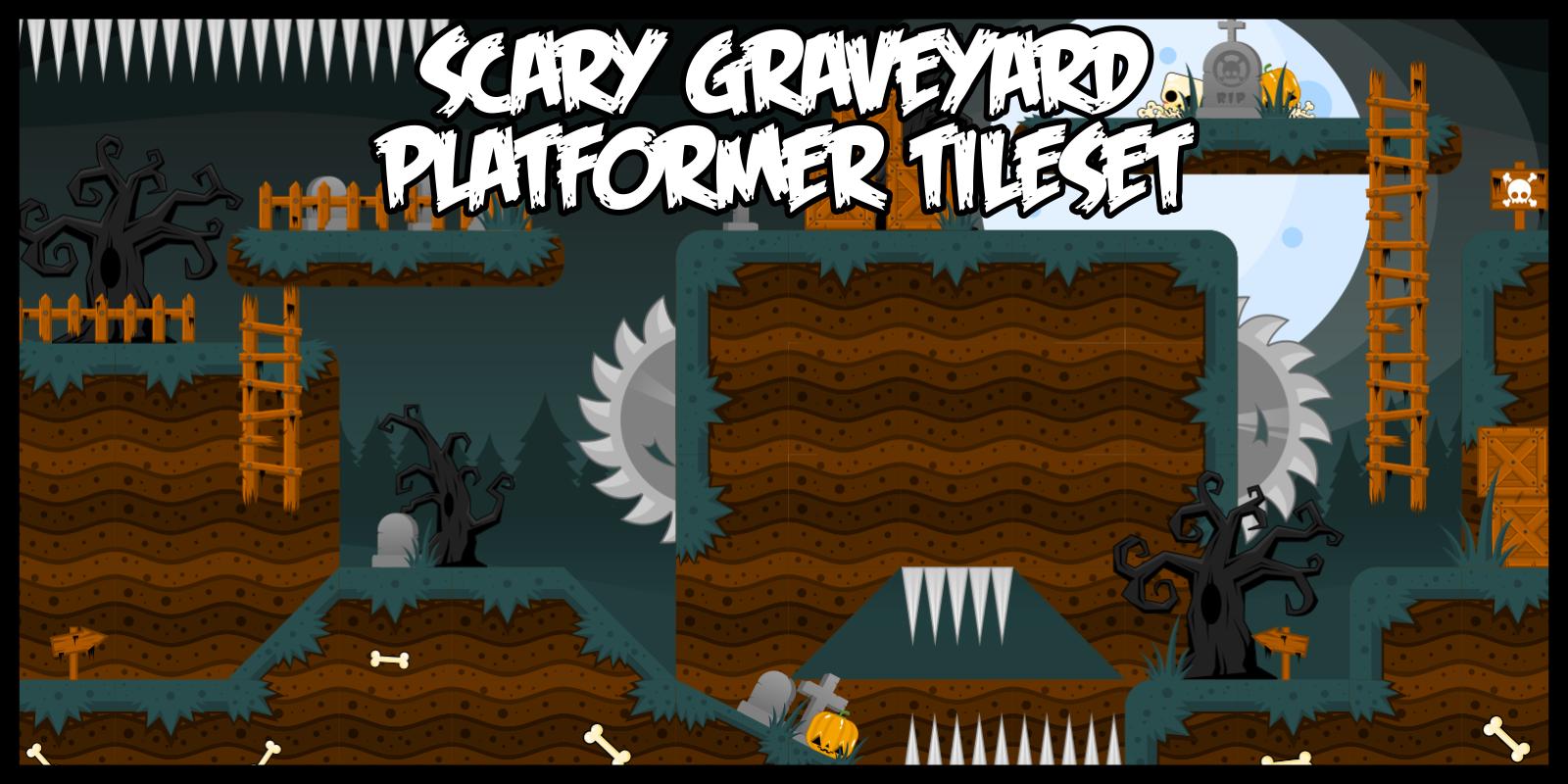 Scary Graveyard - Platformer Tileset