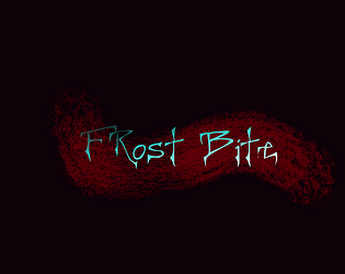 Cover of Frost Bite. The game title of a blood-like texture