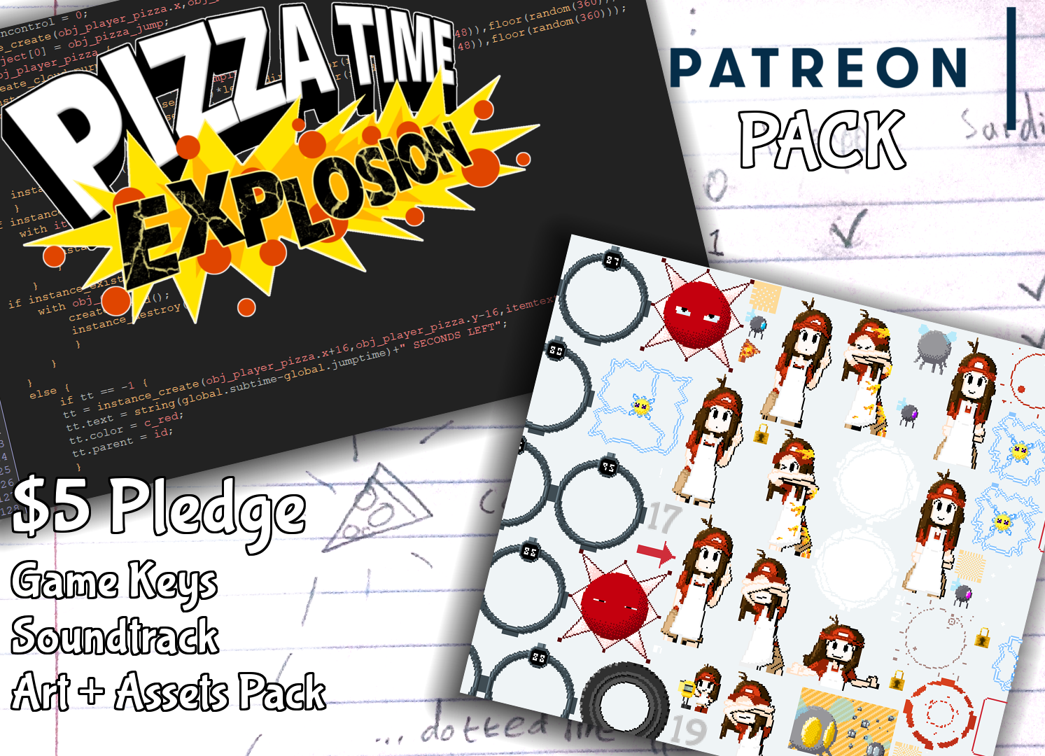 Pizza Time Explosion Patreon Pack - $5 Pledge gets you: Game Keys, Soundtrack, and Art + Assets Pack