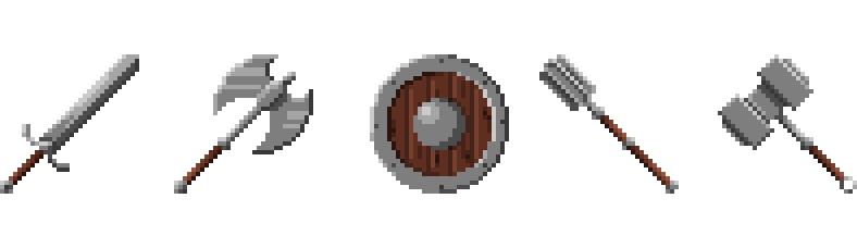Medieval Weapons and Armors (Pixel-Art)