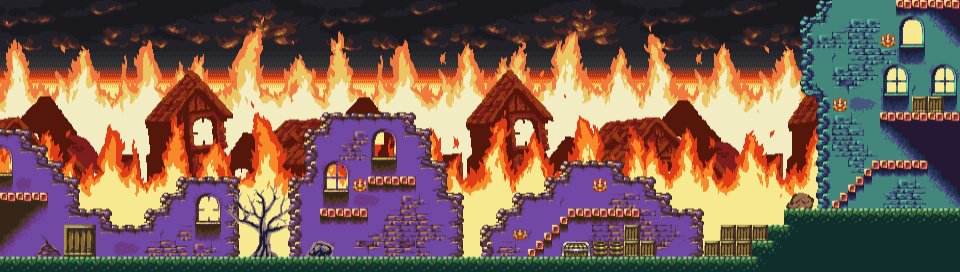 Burning Village Platformer Set
