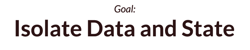 Goal: Isolate Data and State