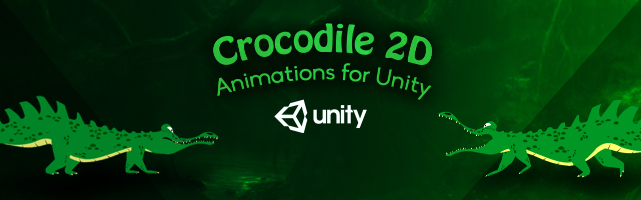Crocodile 2D Animated Character for Unity Game.