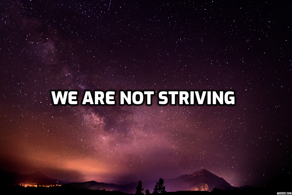 We Are Not Striving