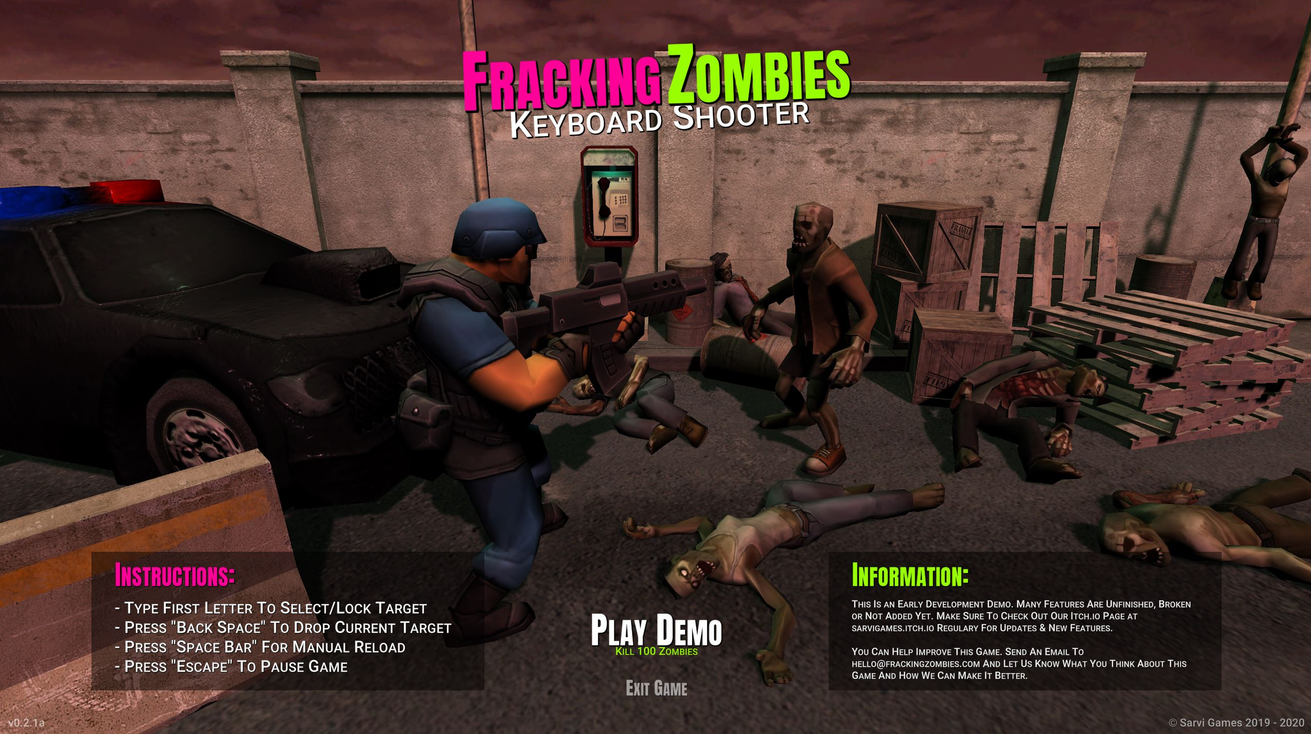 Fracking Zombies - Keyboard Shooter (Demo)