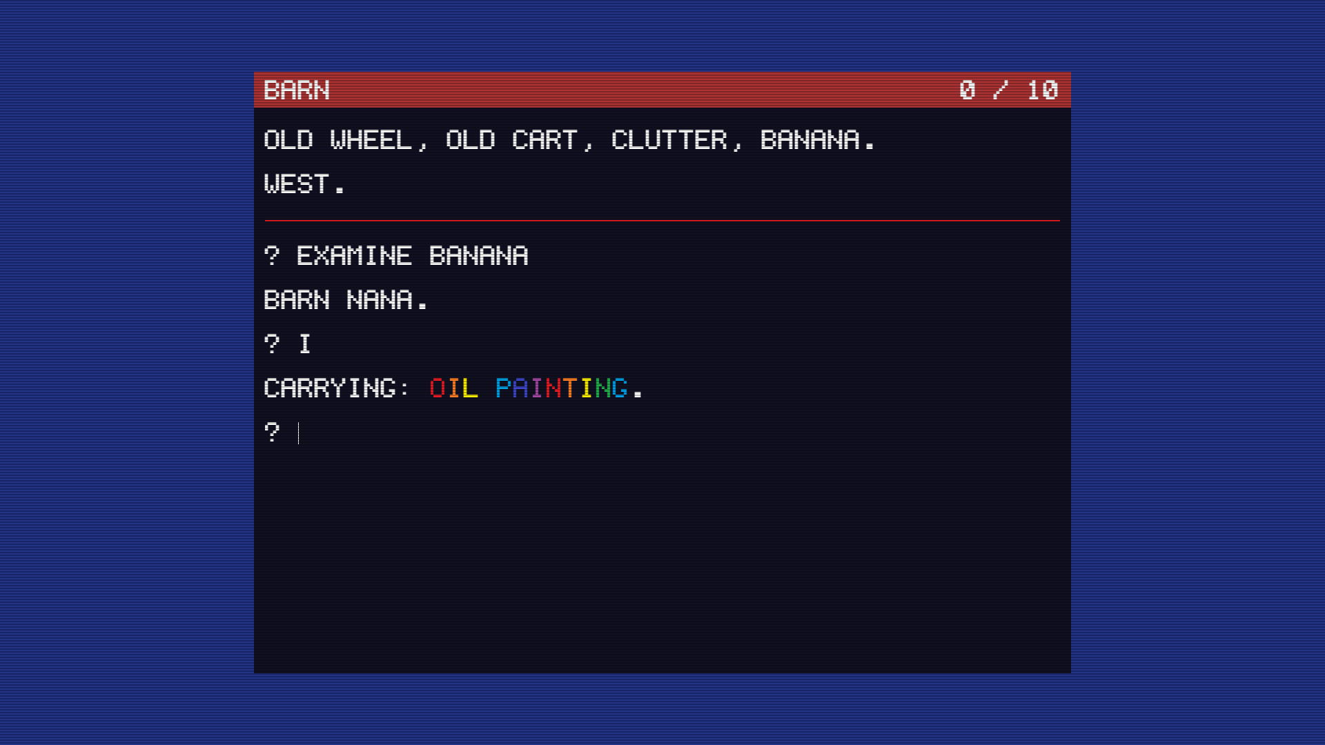 TWO, a treasure hunt game written using Adventuron