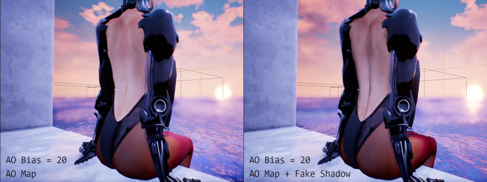 AO map plus fake shadow comparison