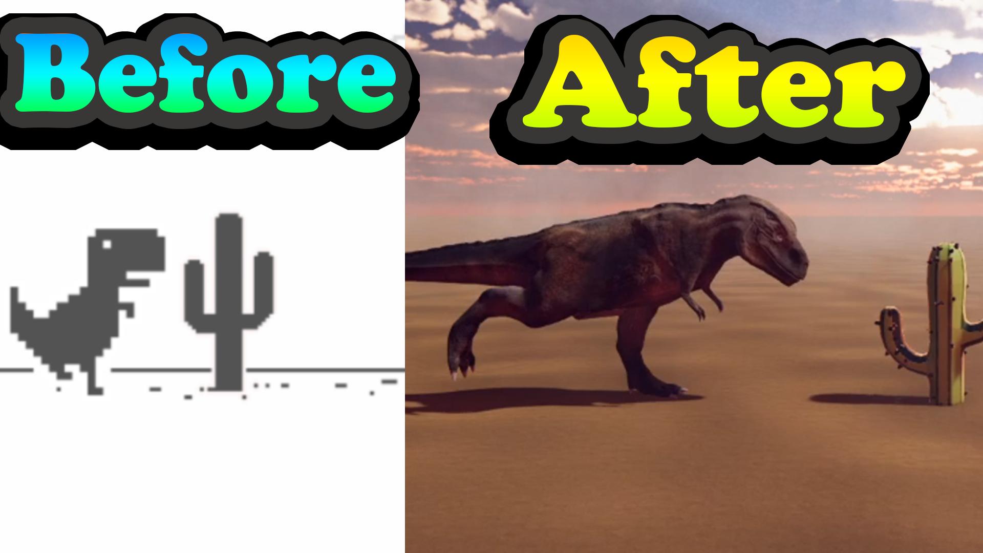 Chrome Dinosaur in 3D