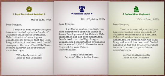 Royal complaint notes with fancy colored letterhead and a typewritten font. Dated and addressed 'Dear Dragon,'.