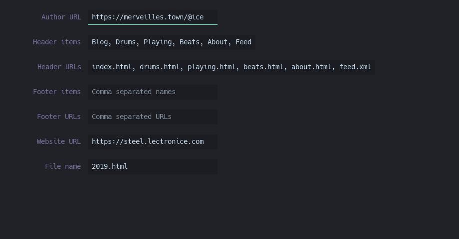 HTML export properties screen