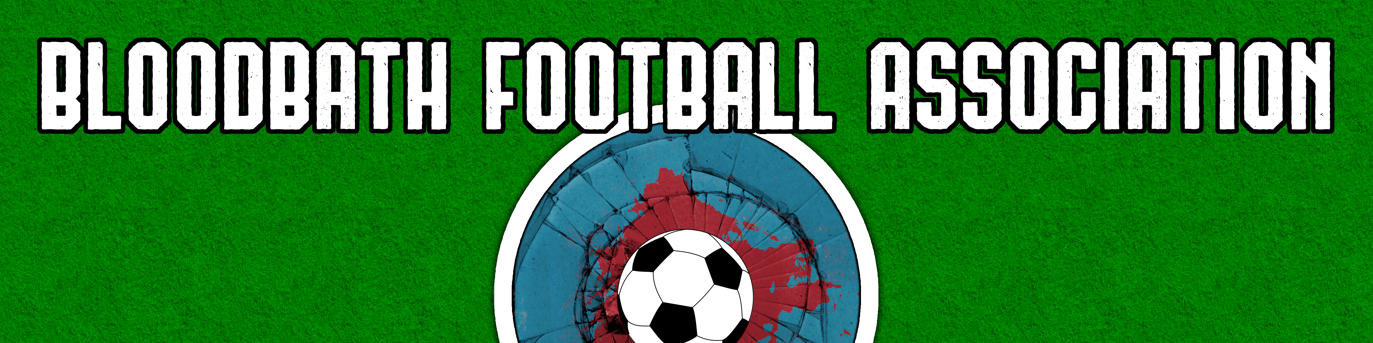A grassy area with a soccer ball in a blood splatter on a broken logo with the title Bloodbath Football Association