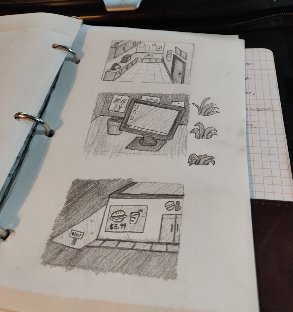 A sketchbook with backgrounds from the game