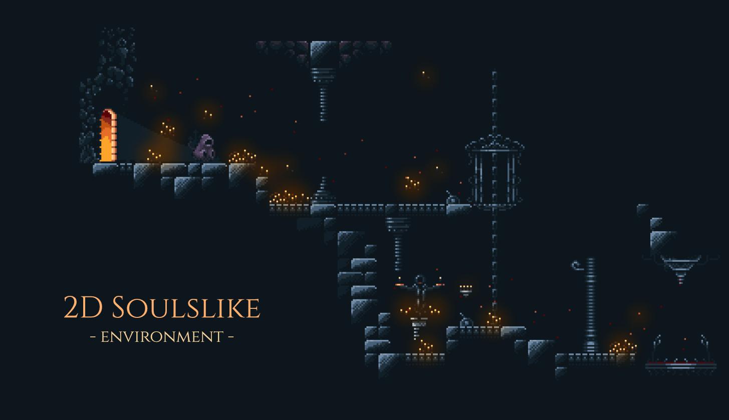 2D soulslike metroidvania dark fantasy environment tileset
